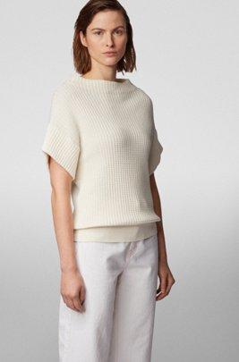 Pull Relaxed Fit à manches courtes en coton mélangé à de la soie, Blanc