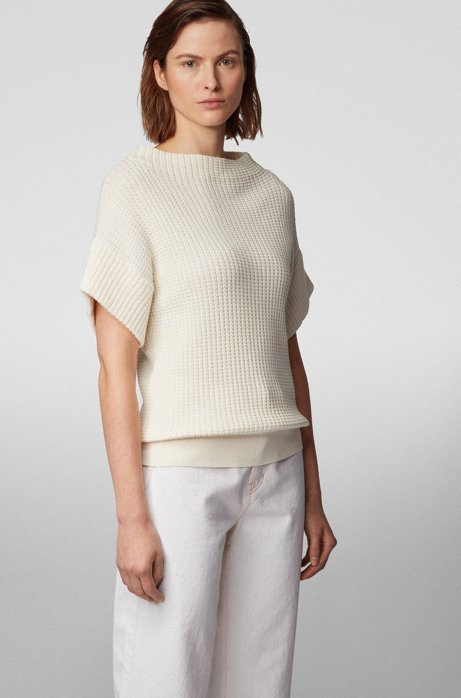 Relaxed-fit short-sleeved sweater in cotton with silk, White