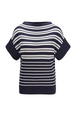 Relaxed-fit trui met korte mouwen van katoen met zijde, Lichtblauw