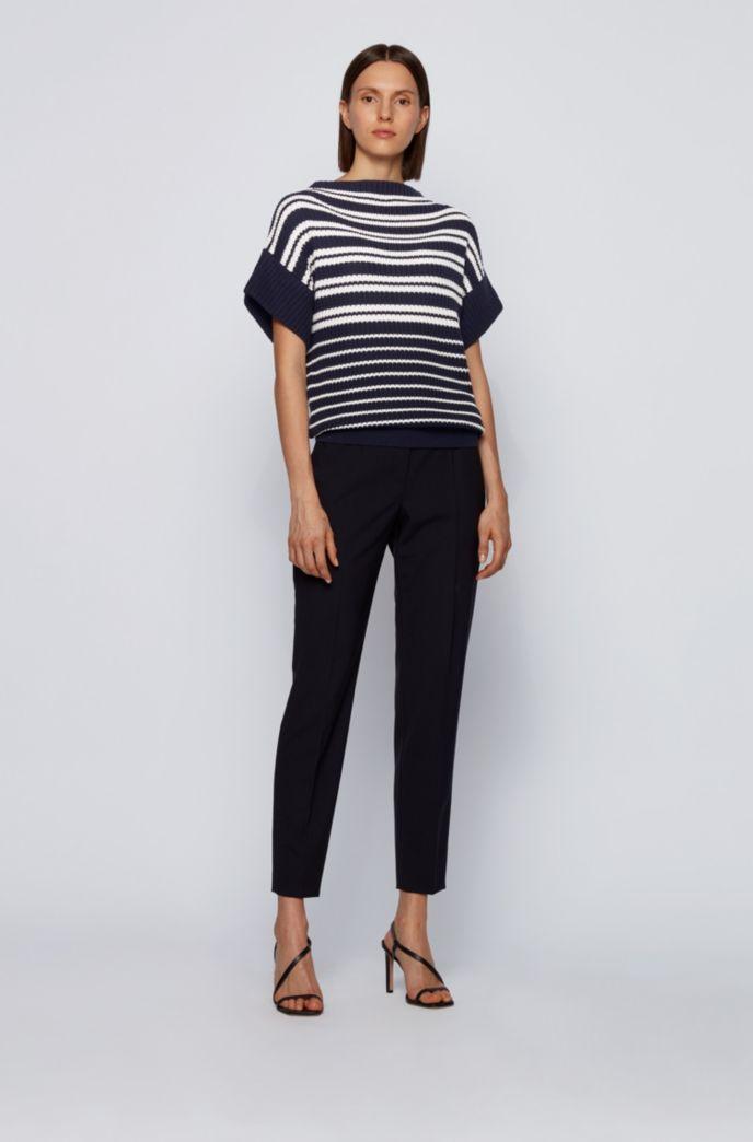 Relaxed-fit trui met korte mouwen van katoen met zijde