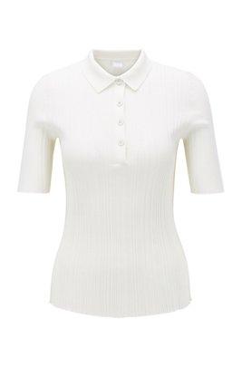 Maglia stile polo slim fit con lavorazione a coste, Bianco