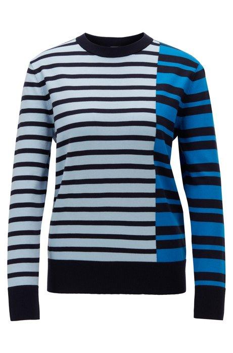 Stripe-intarsia sweater in cotton with silk, Open Blue