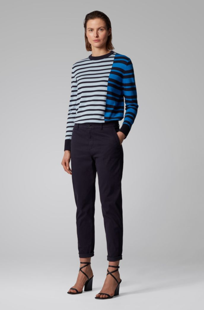 Stripe-intarsia sweater in cotton with silk