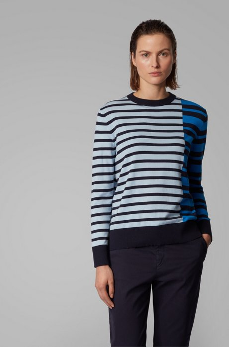 Stripe-intarsia sweater in cotton with silk, Light Blue