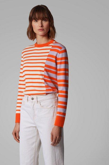 Pull à rayures intarsia en coton mélangé à de la soie, Orange