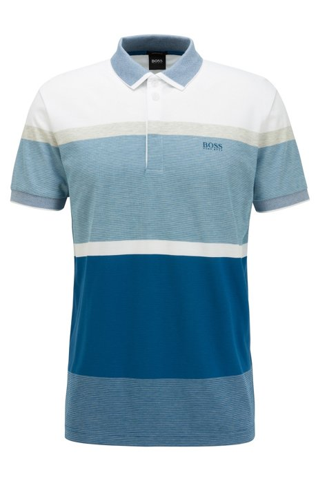 Polo Regular Fit à rayures color block, Bleu