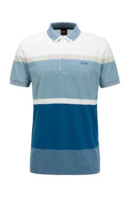 Poloshirt aus Baumwolle mit eingewebten Colour-Block-Streifen, Blau