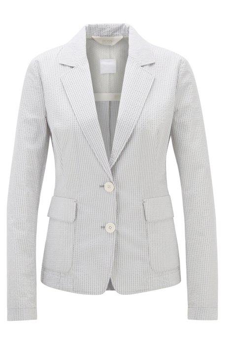Regular-fit jacket in cotton-blend seersucker, Patterned