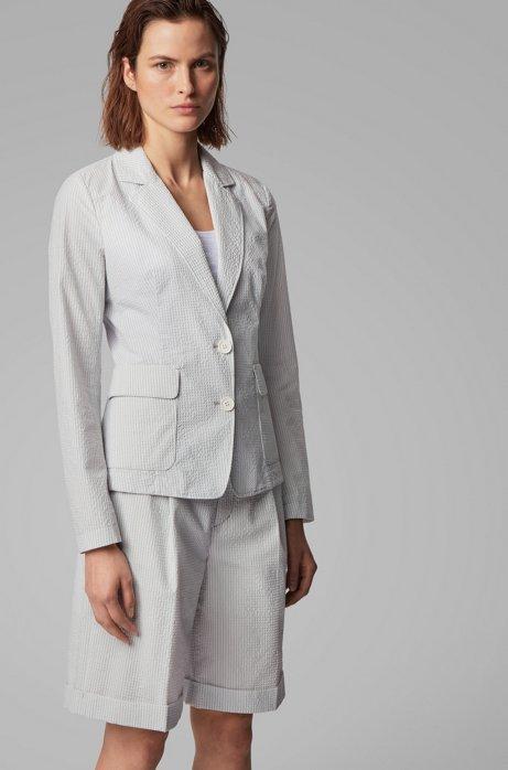 Regular-Fit Blazer aus elastischem Baumwoll-Mix mit Seersucker-Struktur, Gemustert