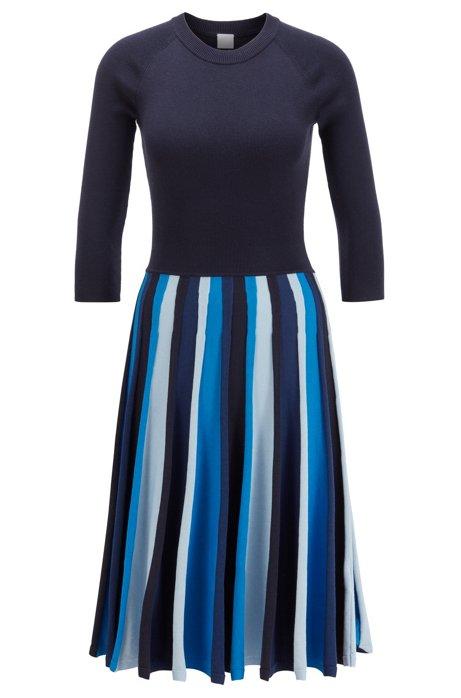 Gebreide jurk met lange mouwen en blokstrepen in gemengde structuren, Lichtblauw