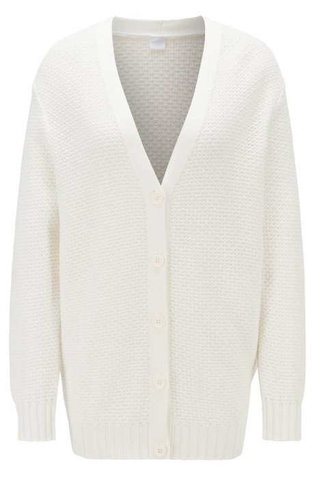 Relaxed-fit cardigan in lightweight cotton with mixed stitching, Natural
