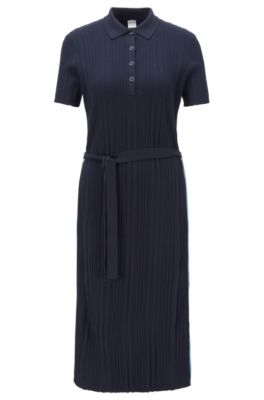 Rib-knit polo dress with colour-block tape trims, Open Blue