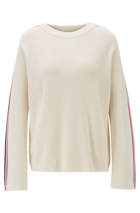 Relaxed-fit cotton-blend sweater with sleeve stripes, Natural