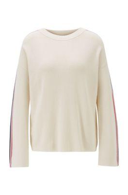Pullover aus Baumwolle mit Seide und Streifen an den Ärmeln, Natur