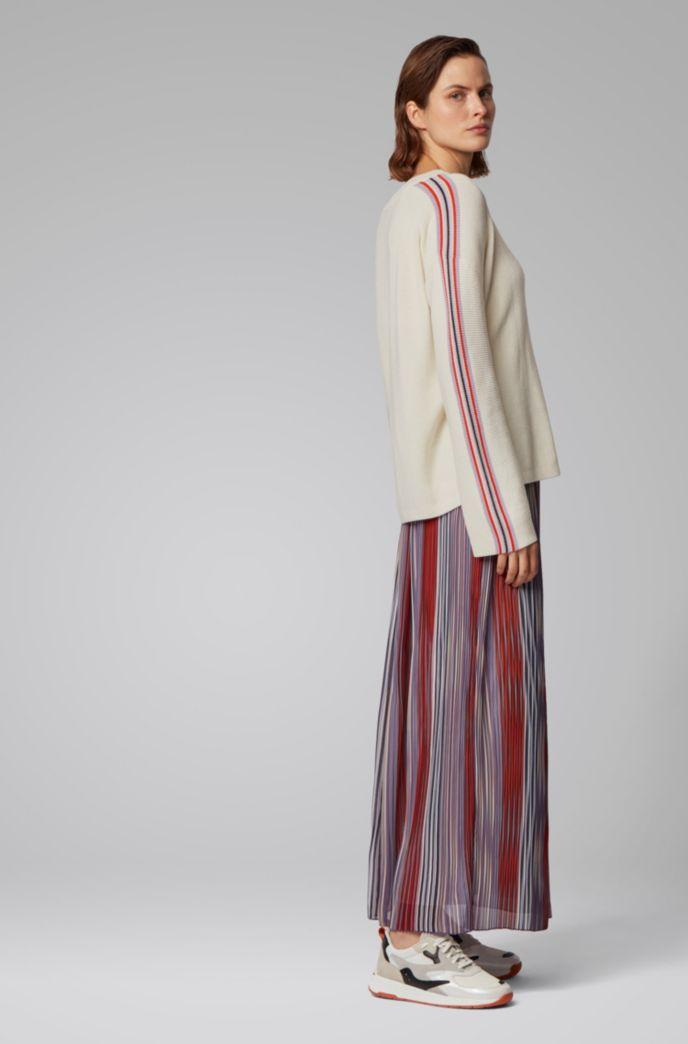 Pullover aus Baumwolle mit Seide und Streifen an den Ärmeln
