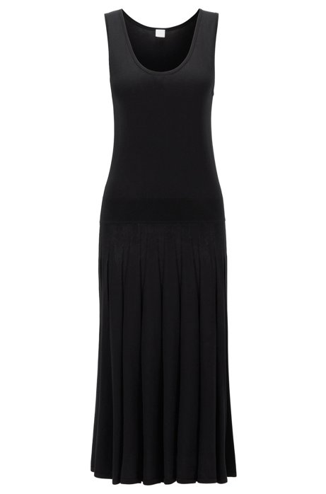 Sleeveless knitted dress with dropped hem in cotton with silk, Black