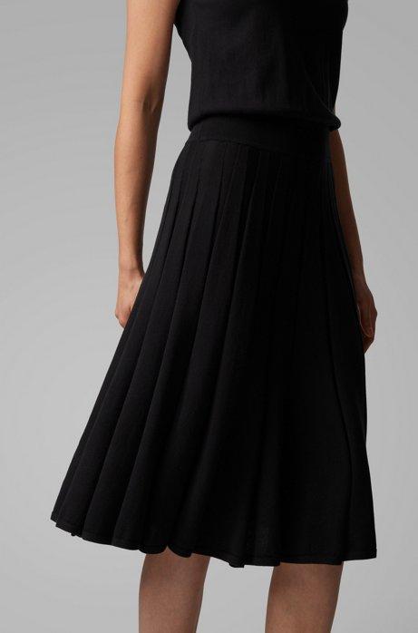 Ärmelloses Strickkleid aus Baumwolle mit Seide und verlängertem Saum, Schwarz