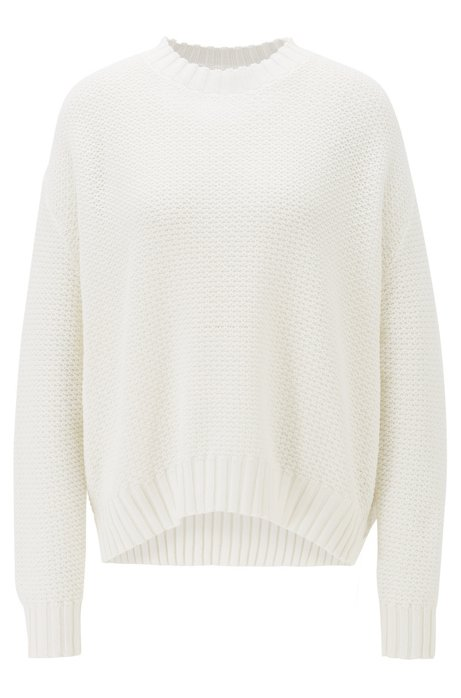 Oversized-fit cotton sweater in mixed structures, Natural
