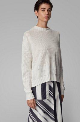 Pull oversize en coton aux structures mélangées, Blanc