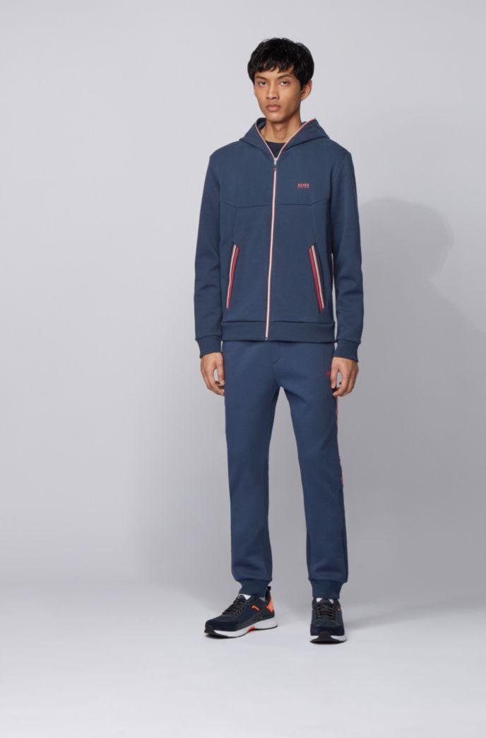 Kapuzen-Sweatshirt mit verlängertem Reißverschluss und Kontraststreifen