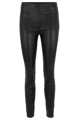 Skinny-Fit Hose aus elastischem Kunstleder, Schwarz