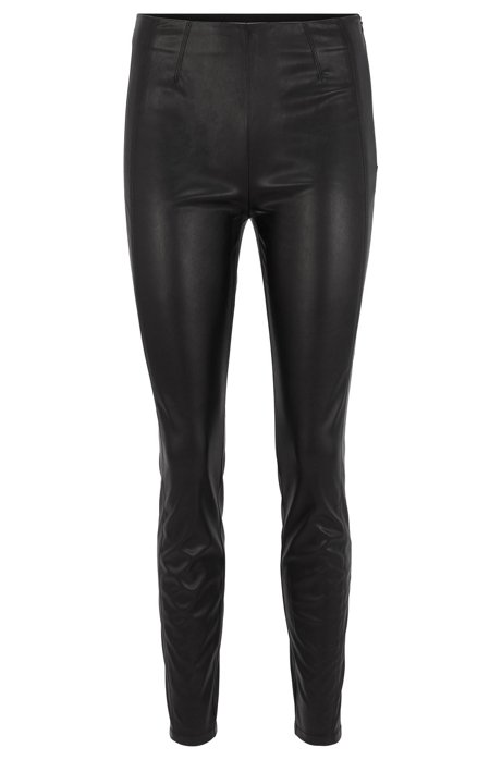 Skinny-fit trousers in faux leather with stretch, Black
