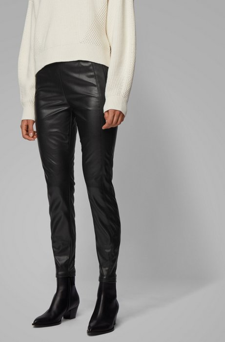 Pantalon Skinny Fit en similicuir stretch, Noir