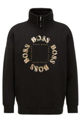 Hochgeschlossenes Sweatshirt mit mehrlagigem Logo in Metallic-Optik, Schwarz