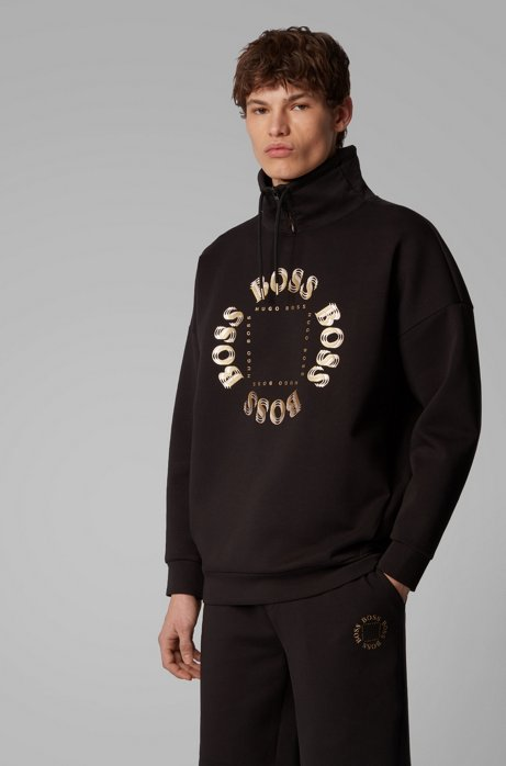 High-neck sweatshirt with layered metallic logo, Black