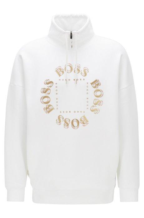 High-neck sweatshirt with layered metallic logo, White