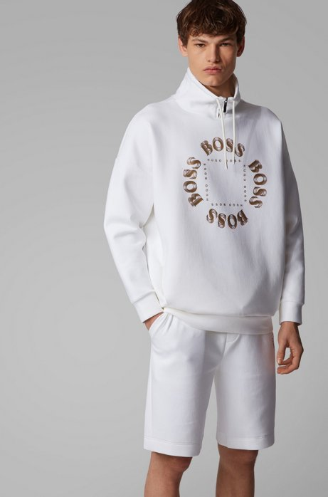 High-neck sweatshirt with layered metallic logo, White