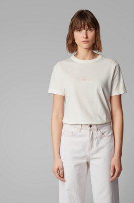 Camiseta de algodón orgánico con logo, Blanco