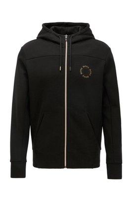 Sweat à capuche zippé avec logo métallisé à effet superposé, Noir