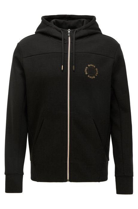 Zip-through hoodie with layered metallic logo, Black