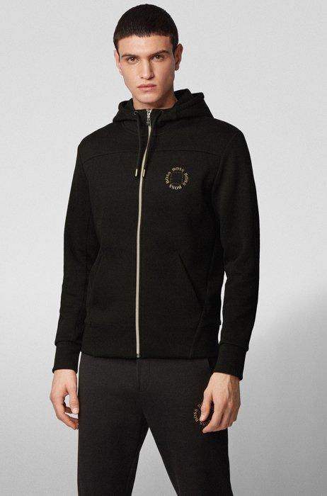 Capuchontrui met rits en gelaagd metallic logo, Zwart