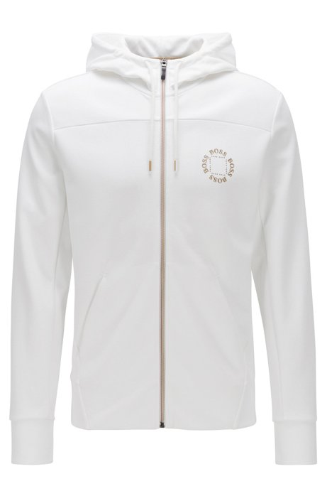 Zip-through hoodie with layered metallic logo, White