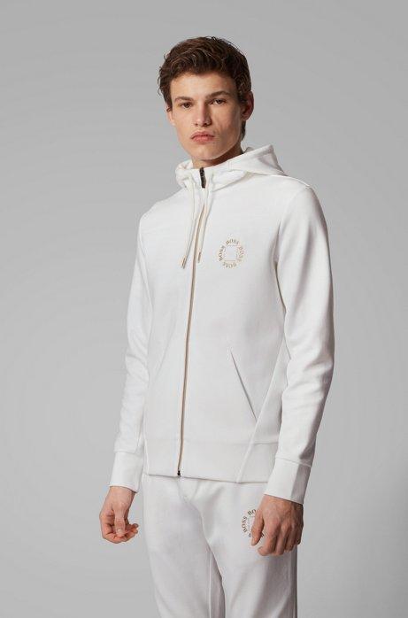 Sudadera con capucha, cremallera integral y logo metalizado a capas, Blanco