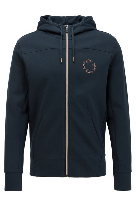 Zip-through hoodie with layered metallic logo, Dark Blue