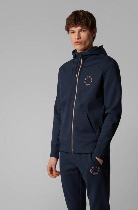 Zip-through hoodie with layered metallic logo, Dark Blue