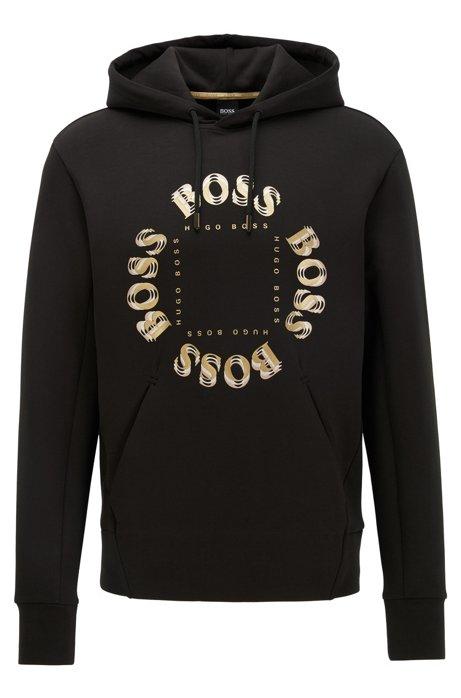 Hooded sweatshirt with layered metallic logo, Black