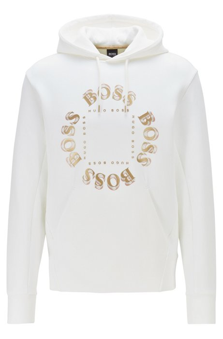 Hooded sweatshirt with layered metallic logo, White