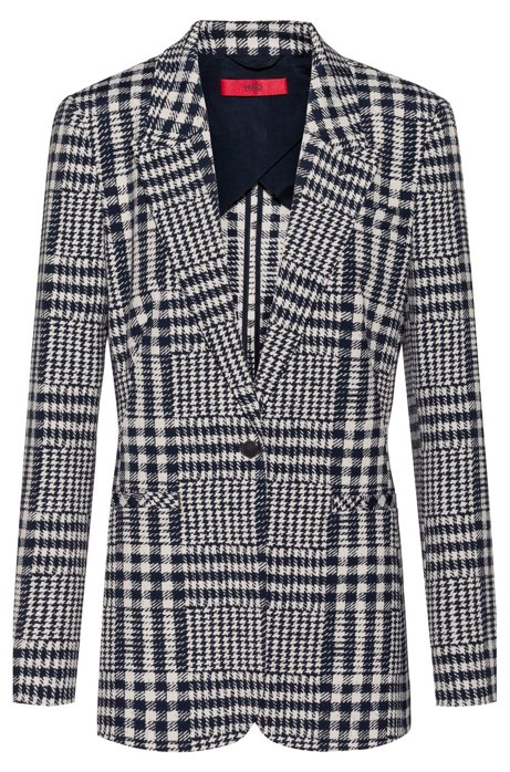 Regular-fit jacket in Glen-checked jacquard, Patterned
