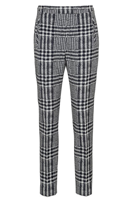 Regular-fit cigarette trousers in checked jacquard, Patterned