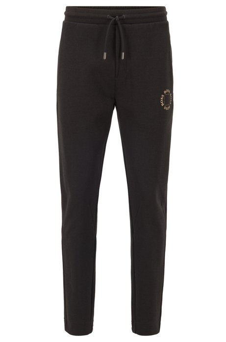 Regular-fit jogging trousers with layered metallic logo, Black