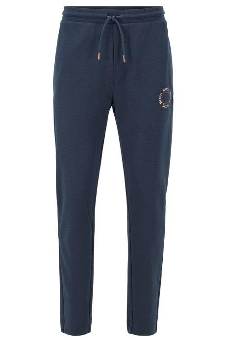 Pantalones de chándal regular fit con logo metalizado a capas, Azul oscuro