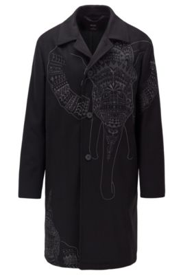 Pardessus en laine et cachemire avec broderie éléphant, Noir