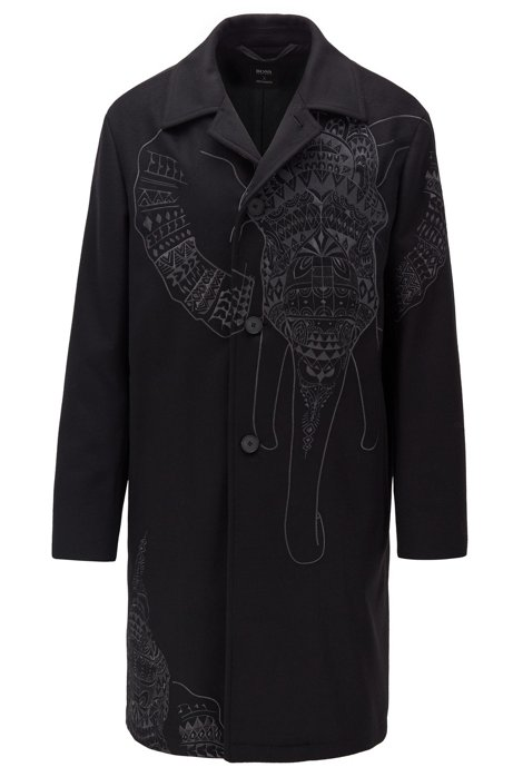 Car coat in wool and cashmere with elephant embroidery, Black