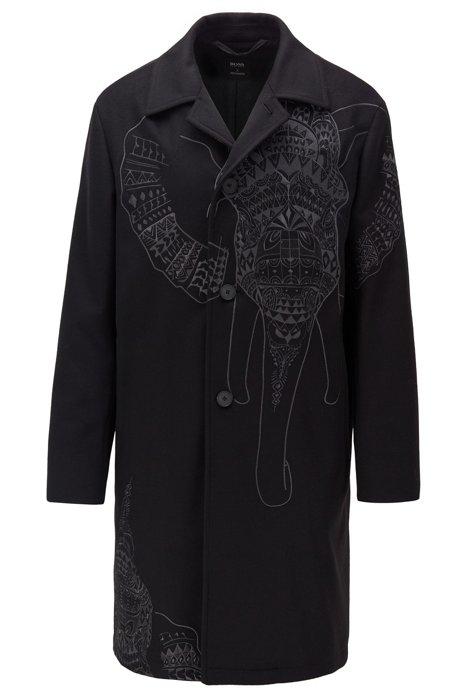 Relaxed-Fit Kurzmantel aus Schurwolle mit Kaschmir und Elefanten-Stickerei, Schwarz