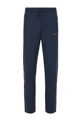 Regular-fit trousers with drawstring in piqué jersey, Dark Blue