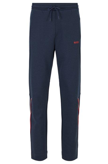 Regular-fit broek met trekkoord van piquéjersey, Donkerblauw
